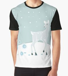 Snowy Deer Graphic Shirt #deer #christmas #holidays #animals #snow
