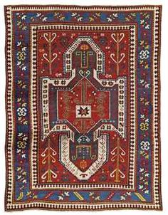 A SEWAN KAZAK RUG SOUTH CAUCASUS, CIRCA 1880 A few small areas of light wear, corroded brown, a few areas of repiling, ends secured 7ft.1in. x 5ft.4in. (215cm. x 163cm.)