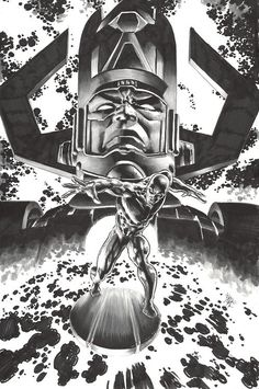 Silver Surfer and Galactus. Mike Deodato always surprise me, doing this with just some markers...