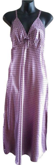 Women's Purple & Black spot Long Satin Chemise Nightdress 8-10 10-12 14-16 18-20