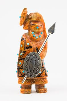 Apple Coral Zuni Warrior Maiden Fetish by Claudia Peina – Turquoise Village - $450