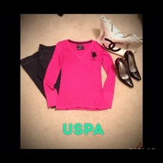 USPA shirt Long sleeved pink USPA shirt size medium. It's in great condition, I only wore it once. USPA Tops
