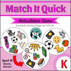 Articulation game for /k/. Engaging game for speech therapy that kids will ask to play again and again!