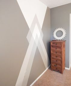 It's time for a geometry lesson- RAD House style. You may or may not have already seen my bedroom geometric wall detail in my Room Tour here. Bedroom Paint Design, Bedroom Wall Designs, Wall Decor Design, Bedroom Wall Colors, Painters Tape Design, Room Wall Painting, Creative Wall Painting, Wall Painting Design, Tape Wall Art