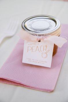 Each guest takes home a jar of homemade spiced peach jam.