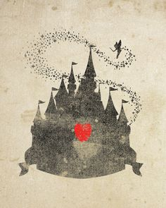 Disney Castle Inspired Silhouette: Art Print, With Heart Studios - Gift, Nursery, Vintage, Poster CINDERELLA cinderella's castle with tinkerbell and her fairy dust Walt Disney, Disney Magic, Disney Art, Disney Crafts, Retro Disney, Vintage Disney, Disney Love, Disney Stuff, Disney Tattoos