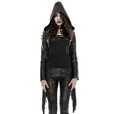 Short Tassel Punk Coat With Hooded 2017 Women Leather Slim Fit Jackets Gothic Sexy Long Sleeve Coat Hoodies For Women