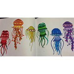 Instagram media danasfinishingtouch - My jellyfish are done #johannabasford #lostocean #lostoceancoloringbook #adultcoloringbook #quiettime #antistress #hobbie #art #rainbow