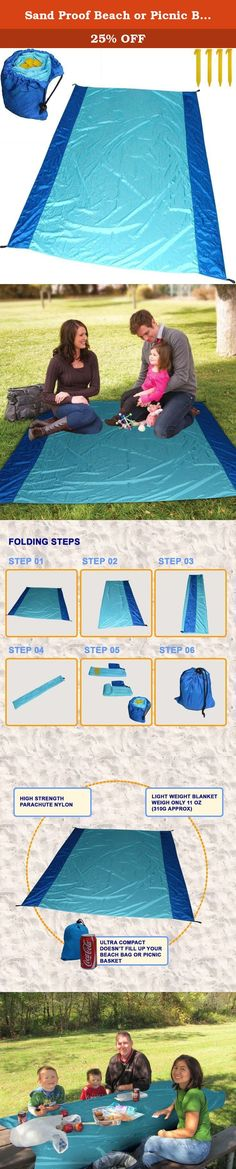 Sand Proof Beach or Picnic Blanket made of Parachute Nylon, works as Shade Tarp Sheet for your Sandless travel escape perfect for drying towel not a black microfiber waterproof or resistant mat. Spencer&Webb premium product. Patent pending revolutionary compact & lightweight design with 4 corner weight pockets & 4 stakes. You will be amazed at how easy it is to use, how fast it sets up and how well it can be re-packed.