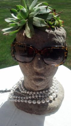 Decorated hypertufa head planter outdoor garden by TotallyTufa, $80.00