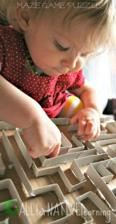 DIY Maze Game Puzzle. Great toddler activity for fine motor skills and cognitive development!