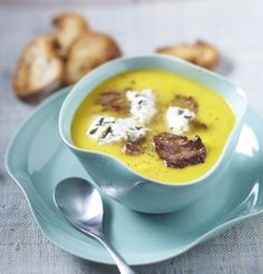 Crème de potiron au bœuf et au Roquefort / Cream of pumpkin soup