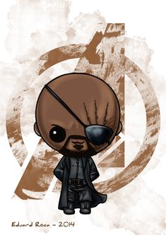 Nick Fury #shield #avengers #kawaii #cute #nikochancomics