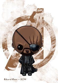 Nick Fury #shield #avengers #kawaii #cute #nikochancomics
