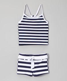 Loving this Snapper Rock Navy & White Stripe Tankini - Toddler & Girls on #zulily! #zulilyfinds
