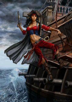 Crimson pirate - Digital Art by Shane Braithwaite