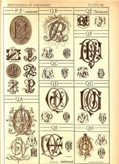 1884 Antique P and Q Monograms Page  Letter Style by UncommonEye