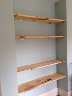 Custom Barn Wood Shelving - Made and Installed by Andrew Urban   Can be mounted sealed or raw. We went with raw to match our rustic theme!