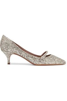 Heel measures approximately 60mm/ 2.5 inches Gold glittered leather Slip on  Made in Italy
