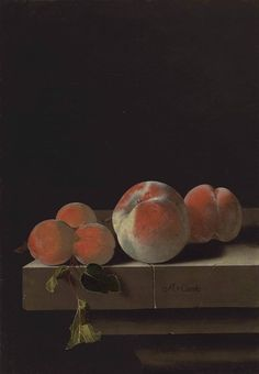 Adriaen Coorte (Middelburg 1660-after 1707), Peaches and apricots on a stone ledge