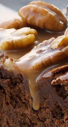 Chocolate-caramel-pecan souffle cake