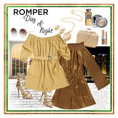 """Off Shoulder Metallic Romper With Rope Belt"" by carola-corana ❤ liked on Polyvore featuring Giuseppe Zanotti, Yves Saint Laurent and Stila"