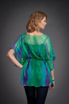 Chiffon cover up. Chiffon top. Silk cover up. by batikelenakotova