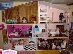 American Girl Dollhouse - this family worked hard on some of the details such as handpainted floors and stamped walls