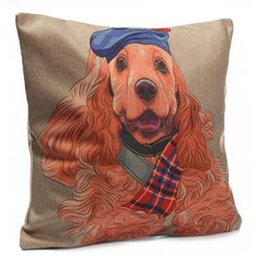 Throw Pillow Covers   Dog Club Cocker Spaniel Theme Cover   UniikStuff
