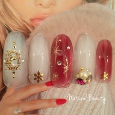 Winter Nails - Picture Ideas Part 2 Seasonal Nails, Holiday Nails, Christmas Nails, Japanese Nail Design, Japanese Nail Art, Colorful Nail Designs, Nail Art Designs, Hot Nails, Hair And Nails