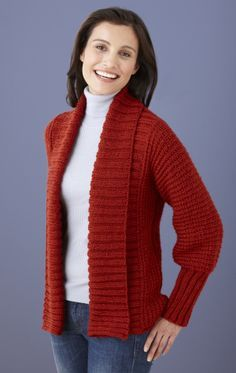 Knit this Drapey Cardigan made with Vanna's Choice and always have a cover-up on hand when the office gets cold.