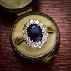 Edwardian Deep Blue Sapphire & Diamond Cluster Ring