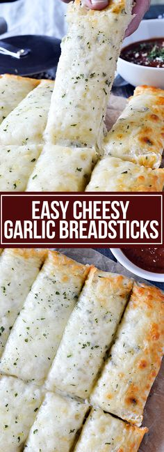 Cheesy Garlic Breadsticks - Mother Thyme Skip the pizza shop and make these super easy Cheesy Garlic Breadsticks loaded with lots of melted cheese at home! Great as an appetizer and for dunking in warm pizza sauce or marinara! Cheesy Breadsticks, Recipe Breadsticks, Pizzeria, Food Articles, Baguette, Challah, Clean Eating Snacks, Bagels, Quesadilla