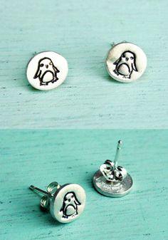 Silver Penguin Earrings - Little Penguin Stud Earrings by boygirlparty #penguin #earrings