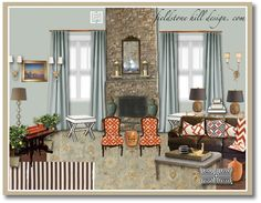 Creating zones in your floor plan. {design board of family room by Fieldstone Hill Design}