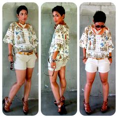Today's Look @ www.mimigstyle.com  F21 Butterfly Garden Top + Woven Shorts