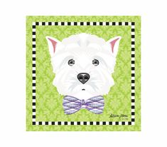 Westie Pet Portrait Art Print Illustration Wrapped by AllisStudio