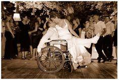 wedding couple kiss wheelchair