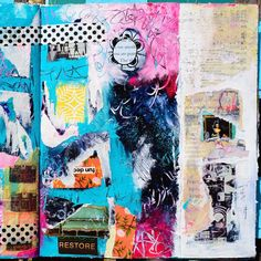 """I write about art journaling at Daisy Yellow. Not <woo woo magical cliché mystical fluff> stuff but <real tangible down to earth> stuff. So here's an excerpt from my recent post """"Art journaling is like a no-expiration date coupon to ignore the rules & graphic design principles that you are not in the mood to follow."""" And this page is from an altered book project, with acrylics, successful and unsuccessful gel transfers, torn papers etc. I like the small compositions within the page. More…"""