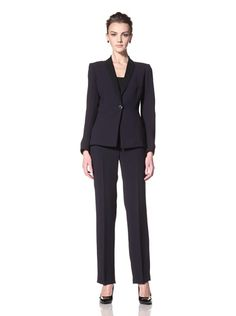 65% OFF Tahari by ASL Women\'s Pant Suit with Contrast Lapel (Navy/Black)