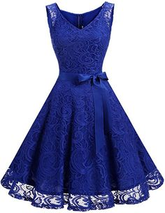 4dcd9633db251 Dressystar Women Floral Lace Bridesmaid Party Dress Short Prom Dress V Neck  XXL Royal Blue Clout Wear Fashion for Womens, Fashion for Mens, Fashion for  Kids