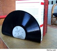 Make bookends from old vinyl records
