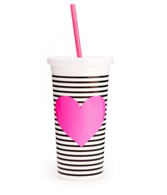 Sip Sip Tumbler With Straw-Neon Heart With Stripes #accessories #ban-do #drinkware #gift #home #new #spring-break #under-40