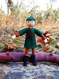 robin hood dolls to make | Natural Waldorf Inspired Robin Hood Doll- miniature bendy doll