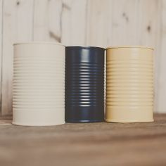 3 painted tin cans. Navy, yellow, and ivory.  Wedding centerpiece. Wedding vases. Decoration tin cans. Barn wedding. Tin can vase.