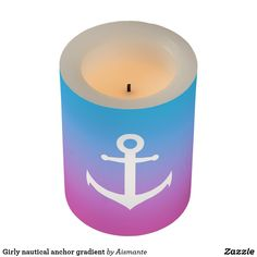 Girly nautical anchor gradient flameless candle