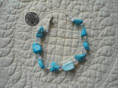 Wedding Turquoise and Clear Crystal Glass Beaded by LandofBridget, $10.00