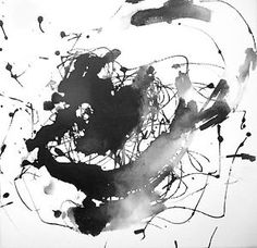 12x12in Contemporary Painting Aquarelle Zen Watercolor Black Abstract Fine Art