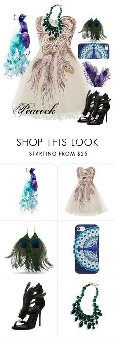 """""""Peacock Inspired - Dreamy Dresses"""" by allyssister ❤ liked on Polyvore featuring Epson, Kate Spade, Giuseppe Zanotti and J.Crew"""