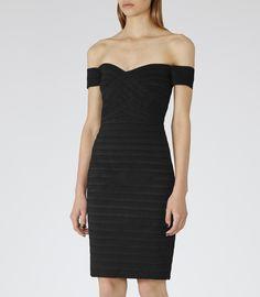 Womens Black Bodycon Off-shoulder Dress - Reiss Forley